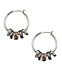 Nine West® Tri-Tone Shaky Click It Hoop Earrings