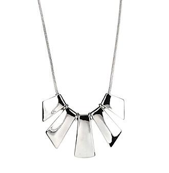 adjustable silvertone frontal necklace