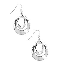 Nine West® Silvertone Orbital Leverback Drop Earrings