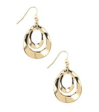 Nine West® Goldtone Orbital Leverback Drop Earrings