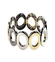 Nine West® Tri-Tone Oval Link Stretch Bracelet