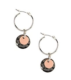 Nine West® Small Tri-Tone Drop Off Hoop Earrings
