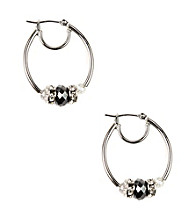 Nine West® Silvertone Slider Hoop Earrings with Faceted Hematite Beads and Crystal Stone Rondelles