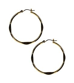 Nine West® Silvertone Hammered Click It Hoop Earrings