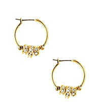 Nine West® Crystal and Goldtone Medium Size Click It Hoop Earrings