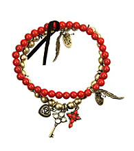 Nine West Vintage America Collection® Set of 2 Oxidized Brass and Coral Beaded Stretch Bracelets