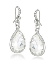 Carolee® Royal Redeux Crystal and Silvertone Pear Drop Pierced Earrings
