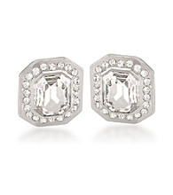 Carolee® Royal Redeux Crystal and Silvertone Emerald Button Clip On Earrings