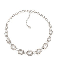 Carolee® Royal Redeux Crystal and Silvertone/Emerald Stone Collar Necklace