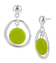 Kenneth Cole® Lime Green Bead Orbital Earrings