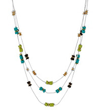 Kenneth Cole® Lime Green Multi-Colored Bead Illusion Necklace