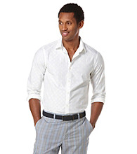 Perry Ellis® Men's Bright White Long Sleeve Slip Exploded Dot Woven