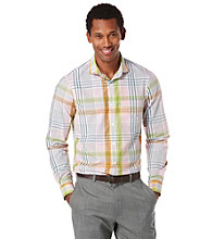 Perry Ellis® Men's Rosa Long Sleeve Slim Fit Road Map Plaid Woven