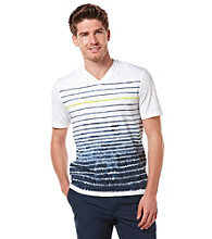 Perry Ellis® Men's Ink Short Sleeve Stripe Printed V-Neck Tee
