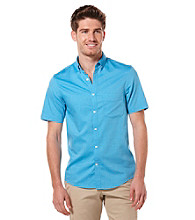 Perry Ellis® Men's Azzurro Short Sleeve Slim Solid Oxford Woven