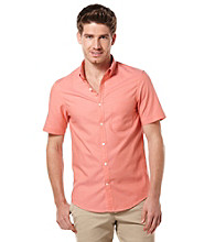 Perry Ellis® Men's Emberglow Short Sleeve Slim Solid Oxford Woven