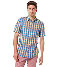 Perry Ellis® Men's Azzurro Short Sleeve Linen Plaid Woven