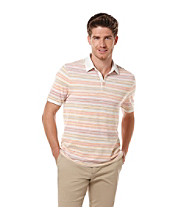Perry Ellis® Men's Stone Short Sleeve Striped Pique Polo