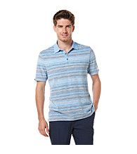Perry Ellis® Men's French Blue Short Sleeve Striped Pique Polo