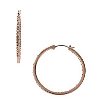 Fossil® Medium Rose Goldtone Hoop Earrings with Black Diamond Channel Set Glitz