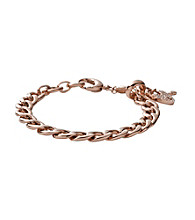 Fossil® Rose Goldtone Curb Link Charm Bracelet with Glitz Heart Charm