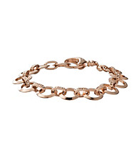 Fossil® Rose Goldtone Link Charm Bracelet with Glitz Accents