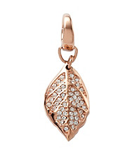 Fossil® Feather Charm in Rose Goldtone with Clear Crystal Glitz