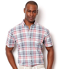 Nautica® Men's Reel Aqua Short Sleeve Large Plaid Slub Button Down Shirt
