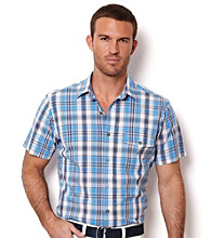 Nautica® Men's Pale Orchid Short Sleeve Medium Plaid Slub Button Down Shirt