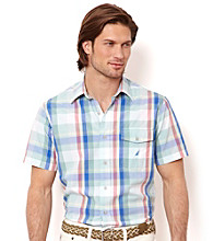 Nautica® Men's Sea Salmon Short Sleeve Large Plaid Button Down Shirt