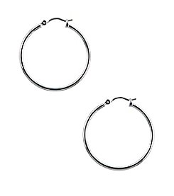 Nine West® Small Polished Silvertone Click It Hoop Earrings