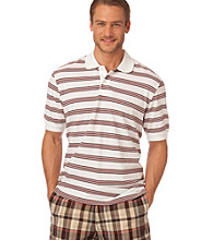 Chaps® Men's White Short Sleeve Santa Clara Stripe Polo