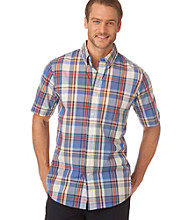 Chaps® Men's Short Sleeve Sundrenched Silver Sands Plaid Woven