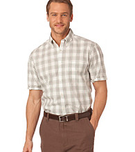 Chaps® Men's Dark Mint Short Sleeve Hacienda Plaid Woven