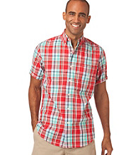 Chaps® Men's Big & Tall Short Sleeve Shettle Wood Plaid Woven