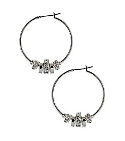 Nine West® Silvertone and Crystal Medium Click It Slider Hoop Earrings