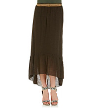 AGB® Hi-Low Hem Belted Long Gauze Skirt