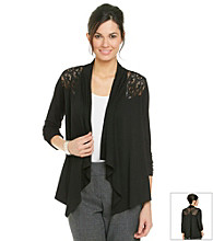 NY Collection Long Sleeve Cascade Front Lace Panel Knit Cardigan