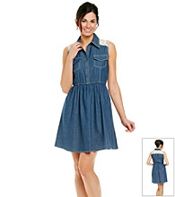 NY Collection Sleeveless Point Collar Lace Panel Denim Dress