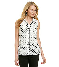 NY Collection Sleeveless Point Collar Buttonfront Dot Print Peplum Top