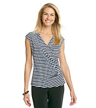 Evan-Picone® Short Sleeve Surplice V-Neck Stripe Print Side Ruched Top