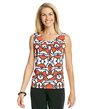 Evan-Picone® Sleeveless Pleatneck Printed Top