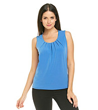 Evan-Picone® Sleeveless Pleatneck Solid Top