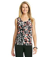 Evan-Picone® Sleeveless Pleatneck Printed Knit Top