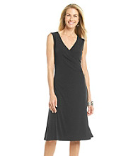 Evan-Picone® Sleeveless V-Neck Surplice Rouched Side Dress