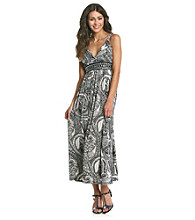 Studio West V-Neck Embelishment Print Maxi Dress