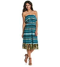 Studio West All Over Print Mesh Tube Dress