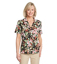 Cathy Daniels® Floral Print Camp Shirt