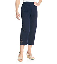 Cathy Daniels® Stretch Waistband Solid Ankle Pant With Embelishment