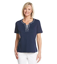 Cathy Daniels® Split Neckline Emroidered Top